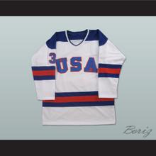 1980 Miracle On Ice Team USA Ken Morrow 3 Hockey Jersey