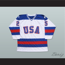 1980 Miracle On Ice Team USA Buzz Schneider 25 Hockey Jersey White