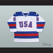 1980 Miracle On Ice Team USA Dave Silk 8 Hockey Jersey White