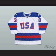 1980 Miracle On Ice Team USA Jim Craig 30 Hockey Jersey White