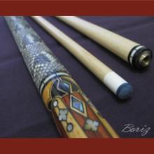 Boriz Billiards Snake Skin Grip Pool Cue Stick Original Inlay Artwork 014