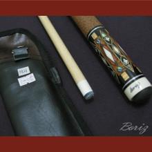 Boriz Billiards Brown Snake Skin Grip Pool Cue Stick Original Inlay Artwork 018