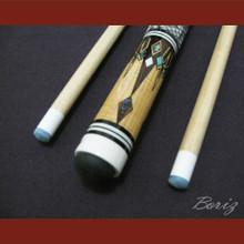 Boriz Billiards Snake Skin Grip Pool Cue Stick Original Inlay Artwork 021