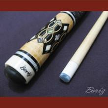 Boriz Billiards Linen Grip Pool Cue Stick Original Inlay Artwork 026