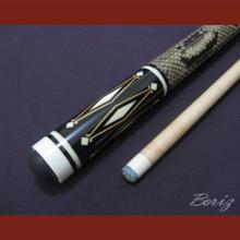 Boriz Billiards Laminated Snake Skin Grip Pool Cue Stick Original Inlay Artwork 029