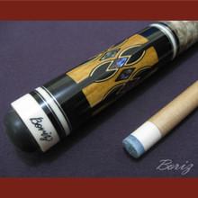 Boriz Billiards Laminated Snake Skin Grip Pool Cue Stick Original Inlay Artwork 030