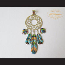 P Middleton Dream Catcher Pendant Sterling Silver .925 with Micro Inlay Stones