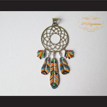 P Middleton Feather Dream Catcher Pendant Sterling Silver .925 with Micro Inlay Stones