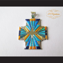 P Middleton 4 Directions Cross Pendant Sterling Silver .925 with Micro Inlay Stones