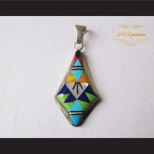 P Middleton Kite Shaped Pendant Sterling Silver .925 with Micro Inlay Stones