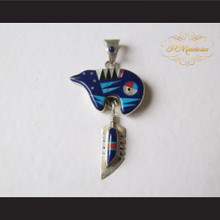 P Middleton Blue Bear Feather Pendant Sterling Silver .925 with Micro Inlay Stones