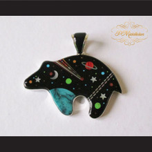 P Middleton Cosmic Bear Pendant Sterling Silver .925 with Micro Inlay Stones