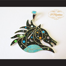 P Middleton Equine Moonstars Pendant Sterling Silver .925 with Semi-Precious Stones