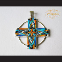 P Middleton Circle Cross Pendant Sterling Silver .925 with Micro Inlay Stones