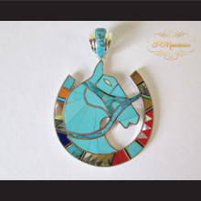 P Middleton Equine Horseshoe Pendant Sterling Silver .925 with Semi-Precious Stones