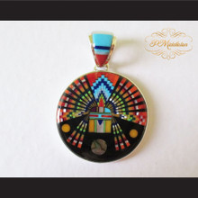 P Middleton Radiant Kachina Pendant Sterling Silver .925 with Semi-Precious Stones Micro Inlay