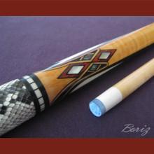 Boriz Billiards Snake Skin Grip Pool Cue Stick Original Inlay Artwork 037