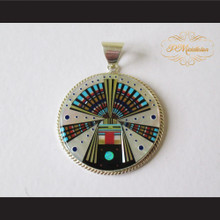 P Middleton Circle Kachina Pendant Sterling Silver .925 with Micro Inlay Stones