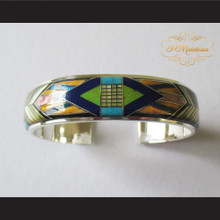 P Middleton Double Arrow Micro Inlay Cuff Bracelet Sterling Silver .925