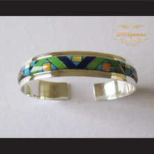 P Middleton Geometric Design Micro Inlay Stones Cuff Bracelet Sterling Silver .925