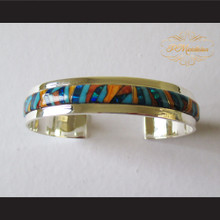 P Middleton Geometric Mosaic Micro Inlay Cuff Bracelet Sterling Silver .925