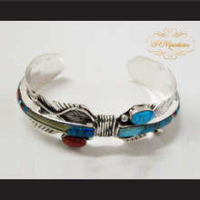 P Middleton Feather Cuff Bracelet Sterling Silver .925 with Semi-Precious Stones