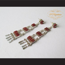P Middleton Red Chandelier Earrings Sterling Silver .925