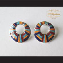 P Middleton Multi-Stone Circle Earrings Sterling Silver .925