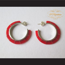 P Middleton Red Hoop Earrings Sterling Silver .925