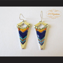 P Middleton Arrow Earrings Sterling Silver .925 with Micro Stone Inlay