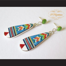 P Middleton Teardrop Earrings Sterling Silver .925 Micro Stone Inlays
