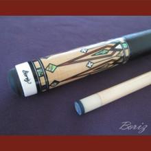 Boriz Billiards Black Leather Grip Pool Cue Stick Original Inlay Artwork 045