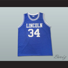Ray Allen Jesus Shuttlesworth 34 Lincoln High School Blue Basketball Jersey He Got Game