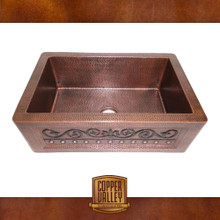 Copper Valley Farmhouse Sink 14 Gauge Scroll Design Kitchen Sink