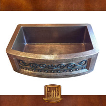 Copper Valley Farmhouse Sink 14 Gauge Scroll Design Curved Apron Kitchen Sink