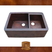 Copper Valley Farmhouse Sink 14 Gauge 60/40 Split Kitchen Sink