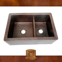 Copper Valley Farmhouse Sink 14 Gauge 3/4 Divided Kitchen Sink