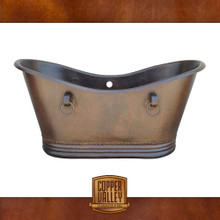 Copper Valley Farmhouse Double Slipper Soaking Hammered Copper Bathtub 60""