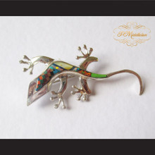 P Middleton Gecko Brooch Pin Sterling Silver .925 with Micro Inlay Stones A4