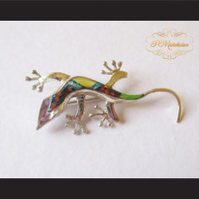P Middleton Gecko Brooch Pin Sterling Silver .925 with Micro Inlay Stones A5