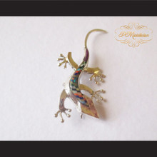 P Middleton Gecko Brooch Pin Sterling Silver .925 with Micro Inlay Stones A7