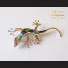 P Middleton Gecko Brooch Pin Sterling Silver .925 with Micro Inlay Stones A9