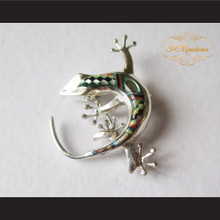 P Middleton Gecko Brooch Pin Sterling Silver .925 with Micro Inlay Stones B1