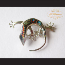 P Middleton Gecko Brooch Pin Sterling Silver .925 with Micro Inlay Stones B2