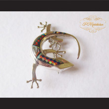 P Middleton Gecko Brooch Pin Sterling Silver .925 with Micro Inlay Stones B4