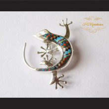 P Middleton Gecko Brooch Pin Sterling Silver .925 with Micro Inlay Stones B6