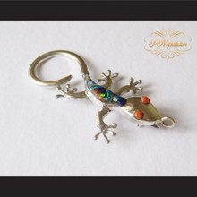 P Middleton Gecko Brooch Pin Sterling Silver .925 with Micro Inlay Stones C5