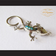 P Middleton Gecko Brooch Pin Sterling Silver .925 with Micro Inlay Stones C7