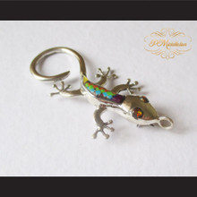 P Middleton Gecko Brooch Pin Sterling Silver .925 with Micro Inlay Stones C9