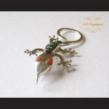P Middleton Gecko Brooch Pin Sterling Silver .925 with Micro Inlay Stones C10